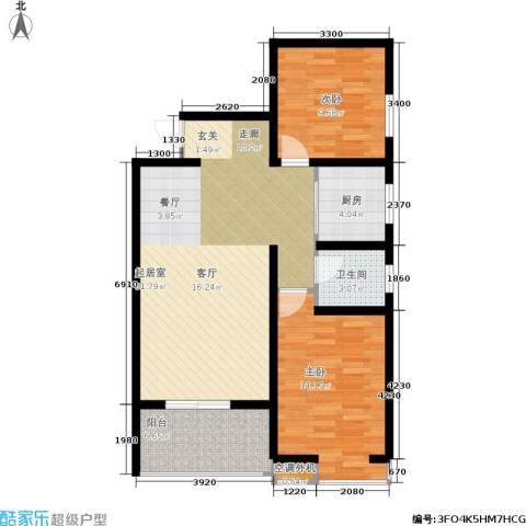 海棠花园2室0厅1卫1厨95.00㎡户型图