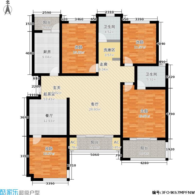 火炬东第172.89㎡花园洋房 四室两厅两卫户型4室2厅1卫