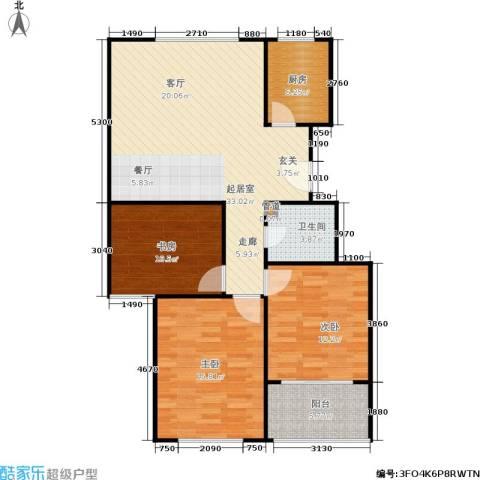 建大教授花园3室0厅1卫1厨116.00㎡户型图