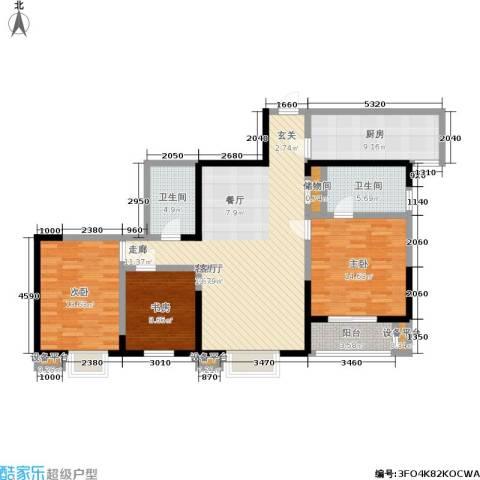 罗曼公社3室1厅2卫1厨113.00㎡户型图