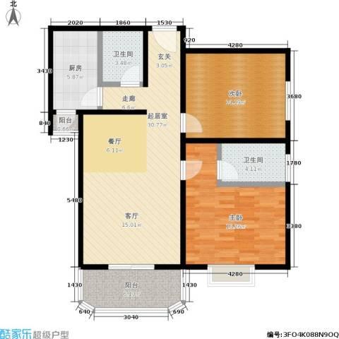 颐馨花园2室0厅2卫1厨91.00㎡户型图