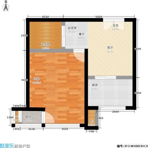 颐和香榭1室0厅1卫1厨46.03㎡户型图
