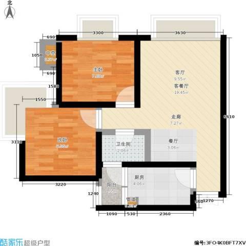 船舶大厦2室1厅1卫1厨60.00㎡户型图