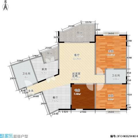 大川花园3室0厅2卫1厨118.00㎡户型图