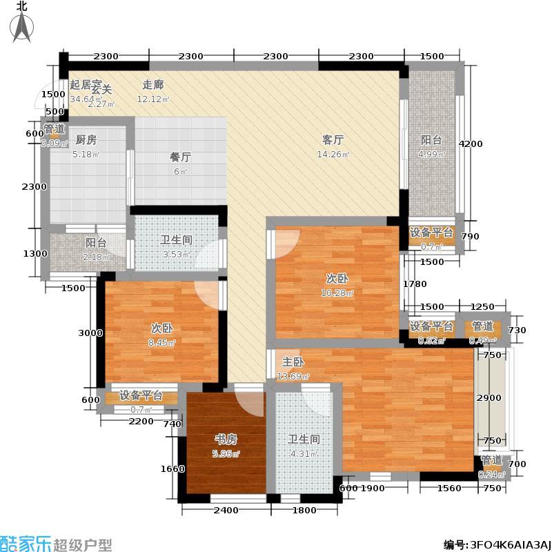 隆鑫天雨方101.31㎡7、8号楼 A2三室两厅双卫 套内约101.31平米户型