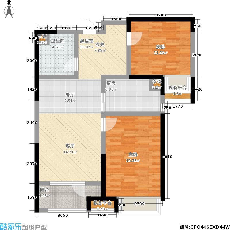 金茂湾社区87.00㎡C3户型2室2厅1卫