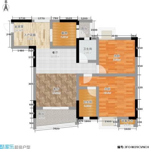 湖榕锦苑2室0厅2卫1厨74.00㎡户型图
