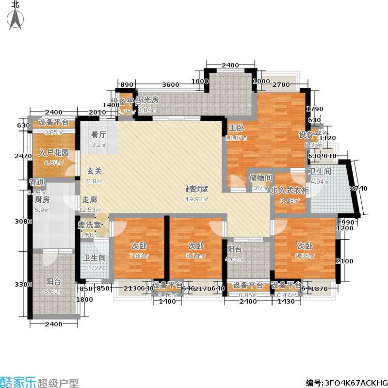 华润中央公园171.00㎡四室两厅两卫,套内面积约147平米户型4室2厅2卫