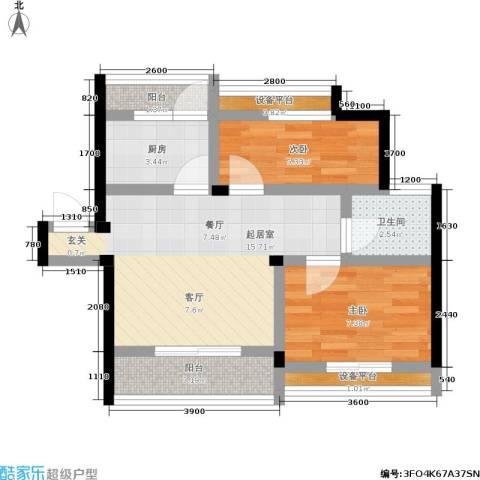 古城新境2室0厅1卫1厨64.00㎡户型图