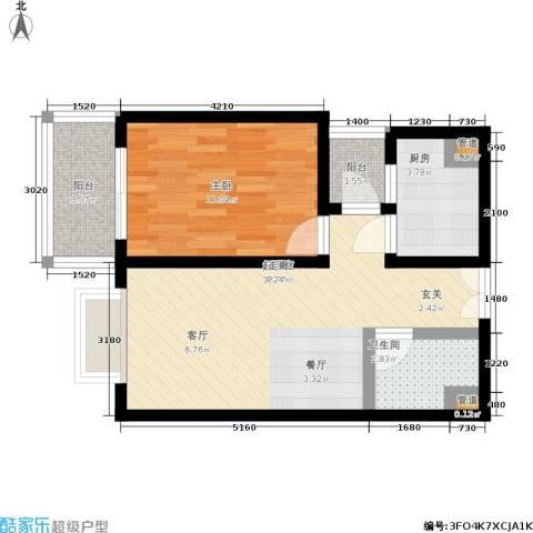 华庭锦园1室0厅1卫1厨50.00㎡户型图