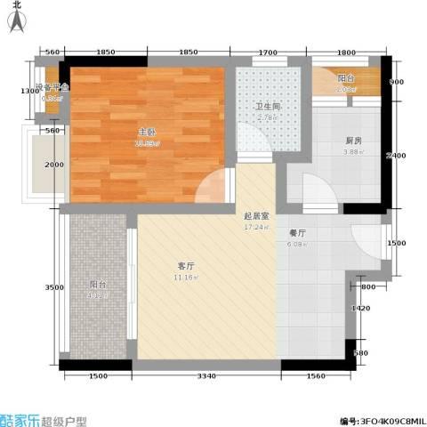 湖榕锦苑1室0厅1卫1厨44.00㎡户型图