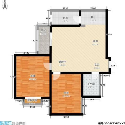 天伦盛世2室1厅1卫1厨88.67㎡户型图