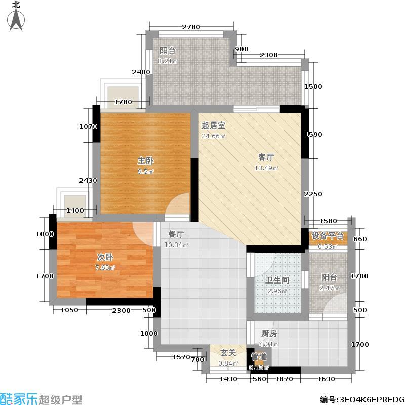 凯川紫依云80.22㎡高层B1户型,两室两厅一卫双阳台,套内面积66.11平米户型2室2厅1卫