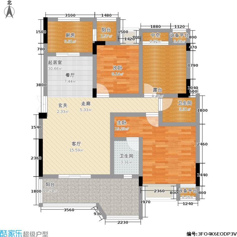 凯川紫依云90.00㎡洋房D4户型,两室两厅双卫,套内面积77.60平米户型2室2厅2卫