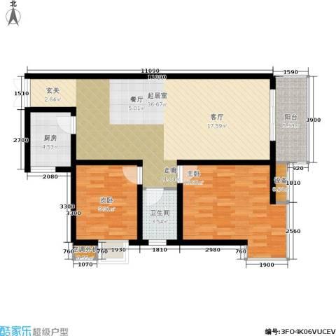 美立方2室0厅1卫1厨83.00㎡户型图