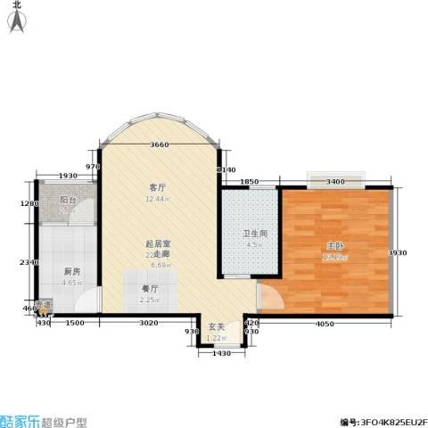 大川花园1室0厅1卫1厨64.00㎡户型图