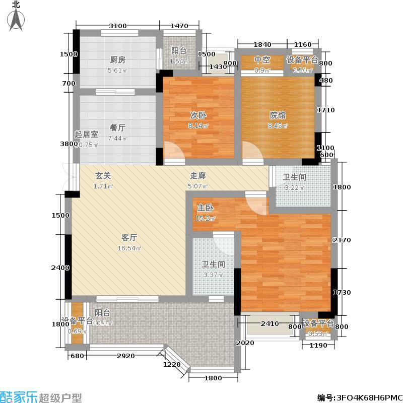 凯川紫依云104.23㎡洋房D3户型,两室两厅双卫,套内面积92.33平米户型2室2厅2卫