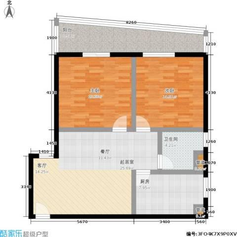 盛天地2室0厅1卫1厨91.00㎡户型图