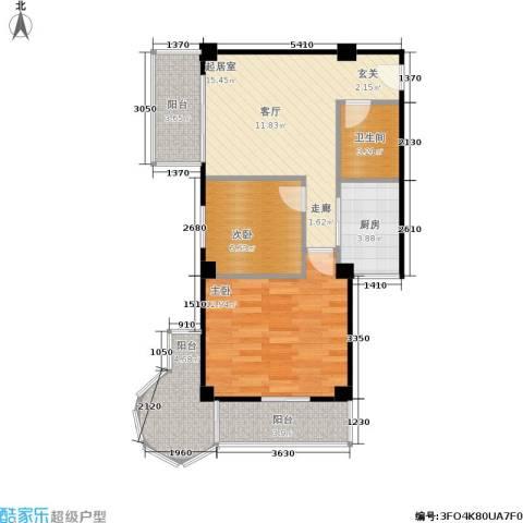 时代明丰苑2室0厅1卫1厨60.00㎡户型图