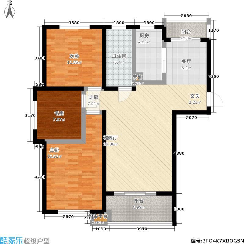 文锦新城户型3室1厅1卫1厨