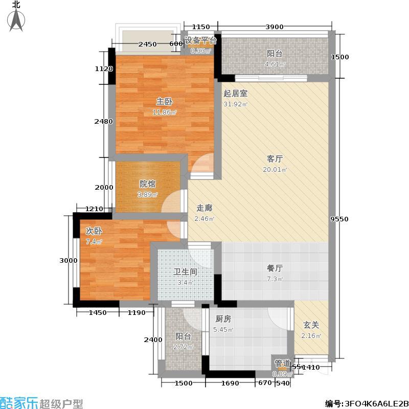 浩立碧海湾76.26㎡浩立碧海湾浩立碧海湾1号楼A、F型两室两厅单卫套内76.26㎡户型图户型2室2厅1卫