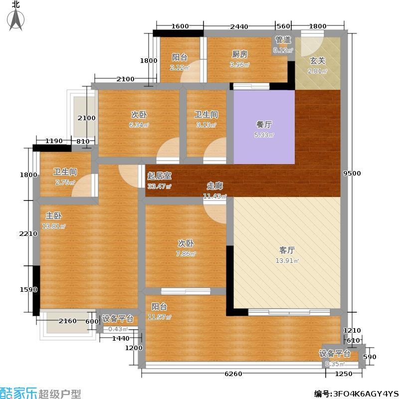 浩立碧海湾91.27㎡浩立碧海湾2号楼C型三室两厅双卫套内91.27㎡户型图户型3室2厅2卫