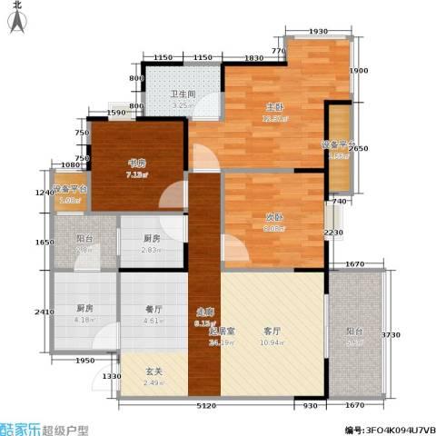 书香美舍3室0厅1卫2厨82.00㎡户型图