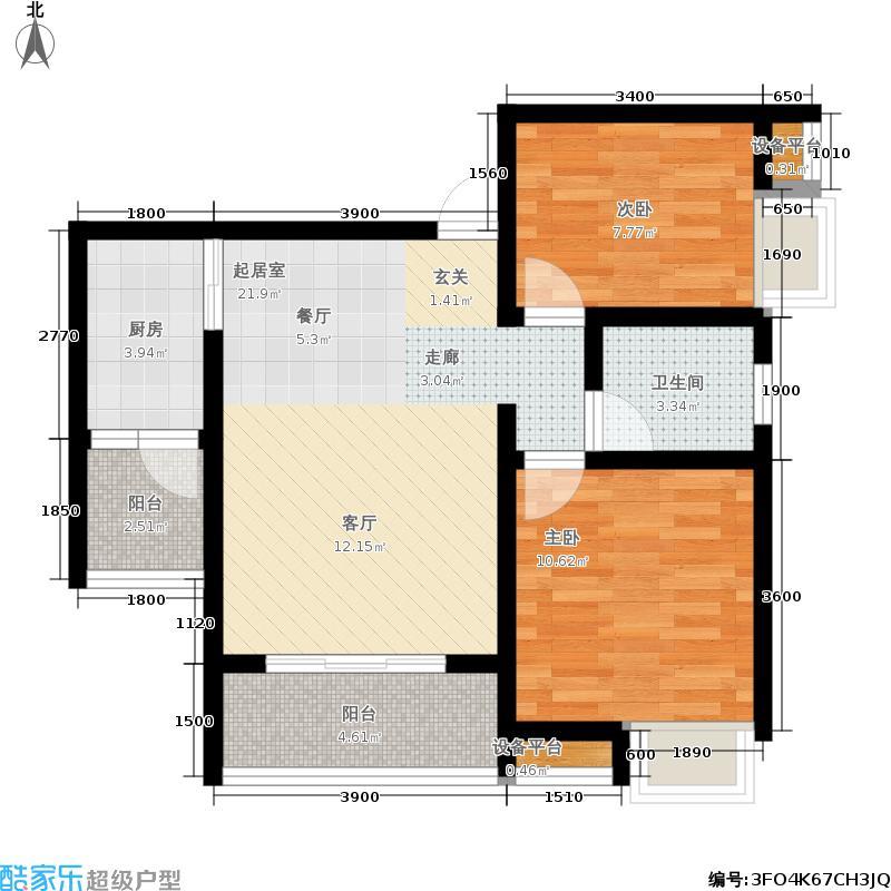 帝豪南城国际一期8号楼标准层A户型2室2厅1卫1厨64.22㎡建筑面积约79.48㎡户型2室2厅1卫
