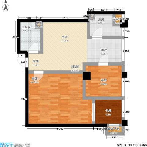 恒佳格调3室1厅1卫1厨72.00㎡户型图