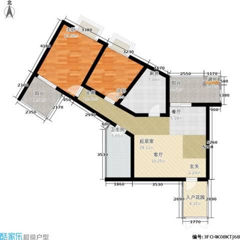 美立方2室0厅1卫1厨89.00㎡户型图