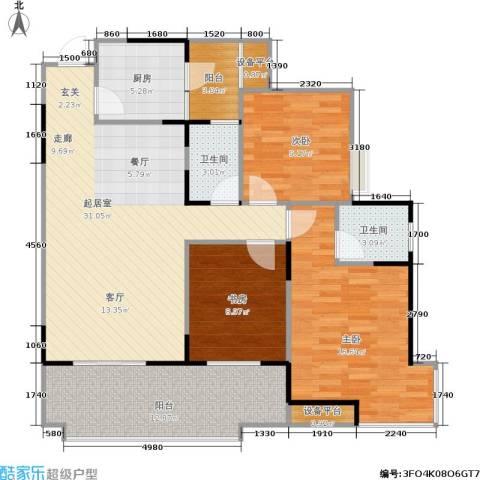 书香美舍3室0厅2卫1厨101.00㎡户型图