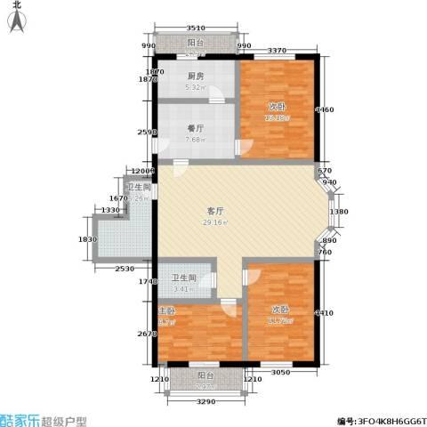 密西花园小区3室2厅2卫1厨105.00㎡户型图