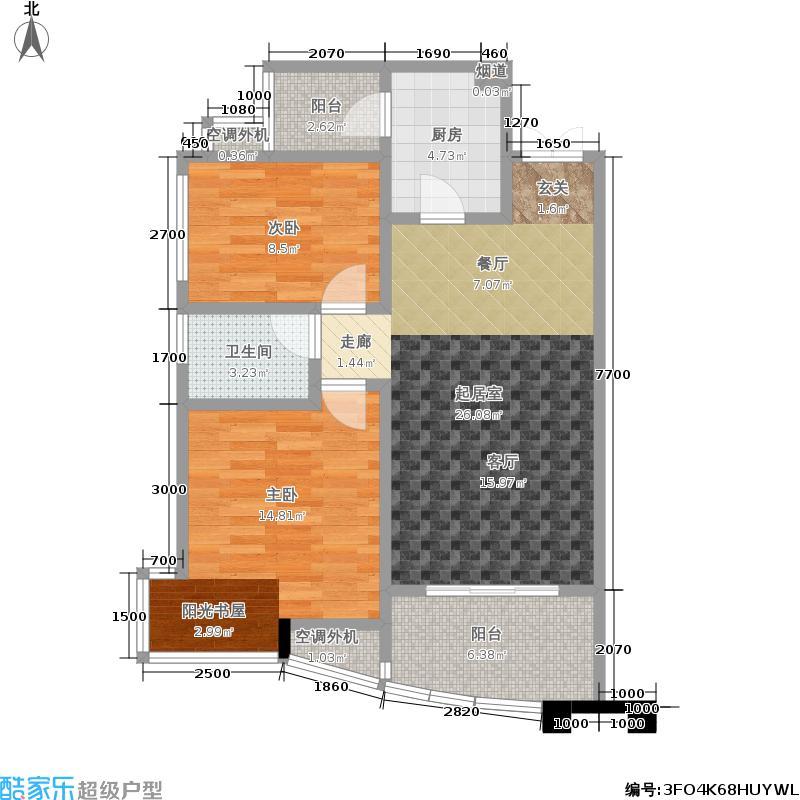 融科紫檀85.00㎡融科紫檀户型图两室一厅一卫(1/1张)户型10室