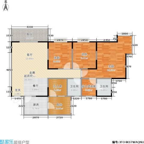 书香美舍3室0厅2卫1厨106.00㎡户型图