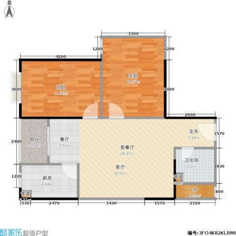 金叶长乐居2室1厅1卫1厨80.00㎡户型图