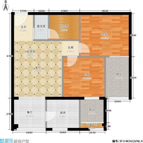 玫瑰坊2室0厅1卫1厨82.00㎡户型图