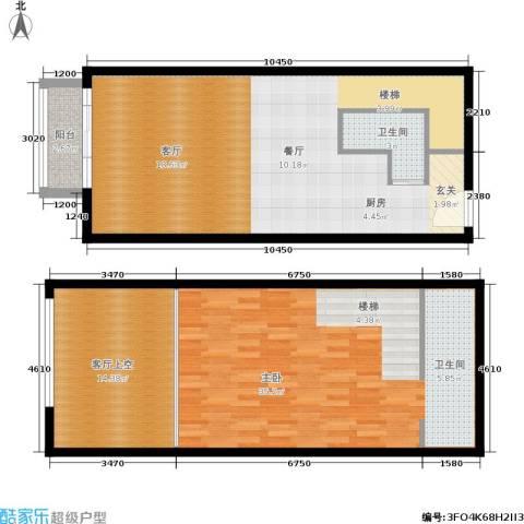 金枫国际1室0厅2卫0厨70.00㎡户型图