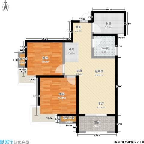 中华世纪城2室0厅1卫1厨91.00㎡户型图