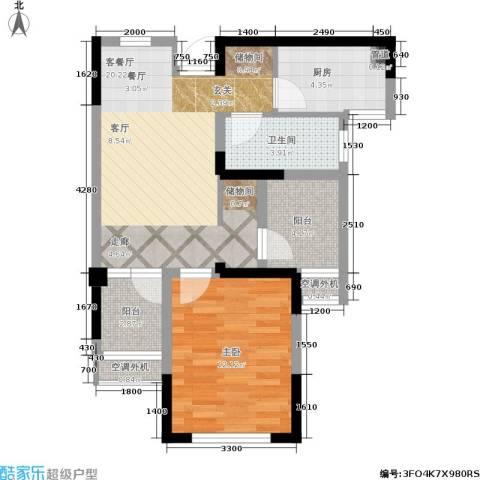 圣都大厦1室1厅1卫1厨58.27㎡户型图