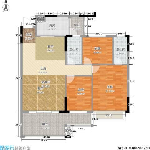 新天美地花园3室1厅2卫1厨119.00㎡户型图