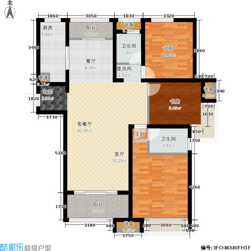 泉景天沅142.00㎡三室两厅二卫户型3室2厅2卫