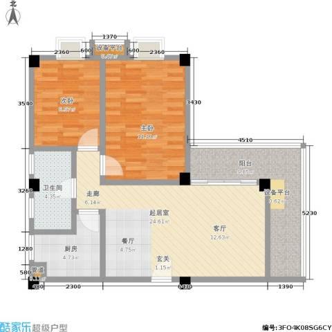 美景苑2室0厅1卫1厨77.00㎡户型图