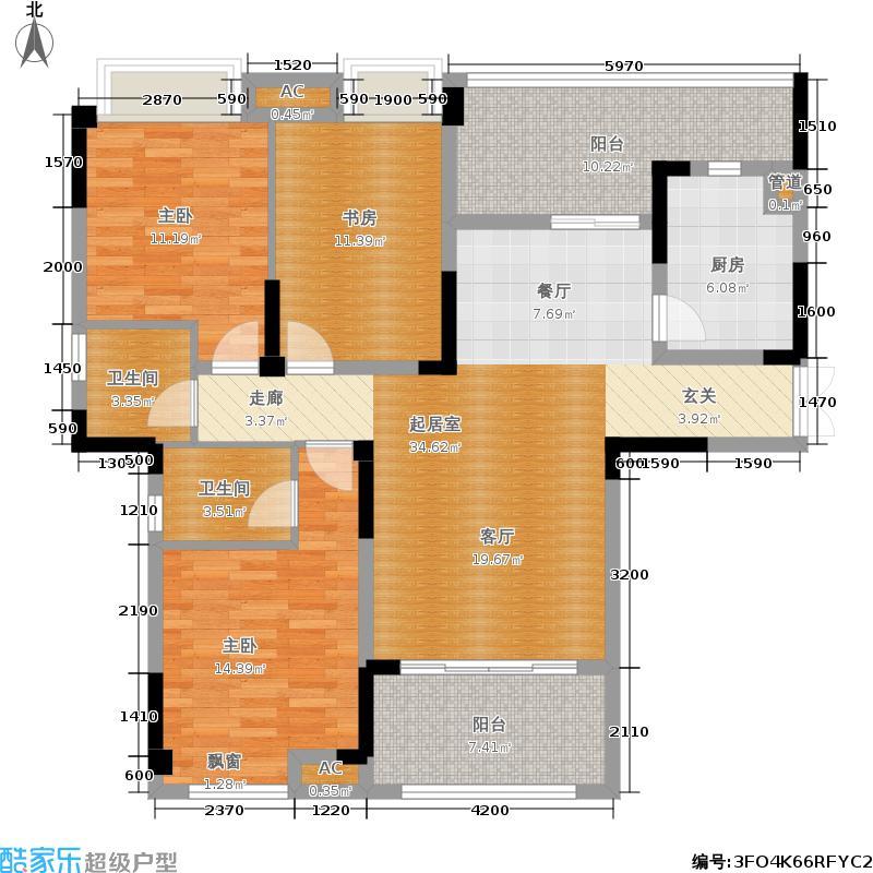 远洋高尔夫国际社区105.00㎡洋房E户型 套内面积105㎡两室两厅两卫带院馆户型2室2厅2卫