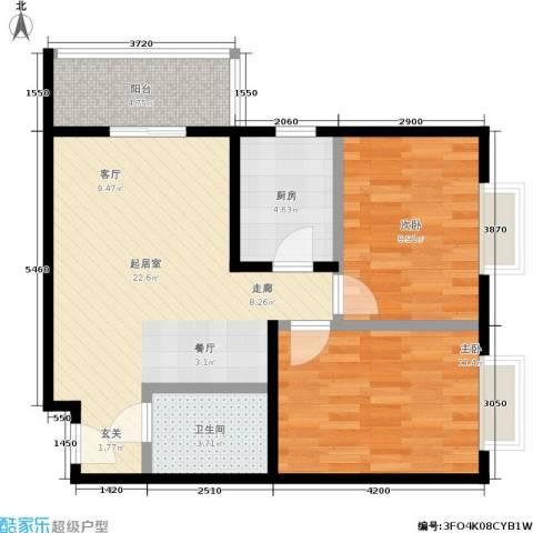 乾唐雁月2室0厅1卫1厨80.00㎡户型图