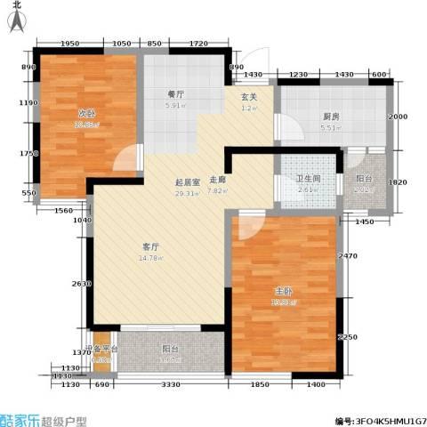 兰亭坊2室0厅1卫1厨90.00㎡户型图