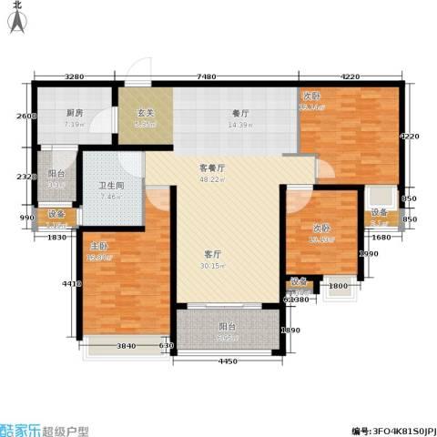 保利花园3室1厅1卫1厨135.00㎡户型图