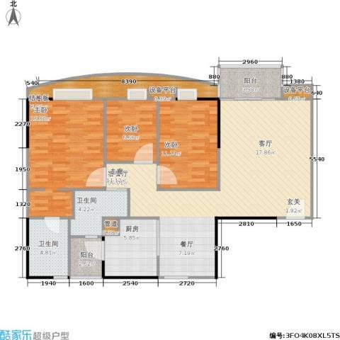 世纪云顶雅苑3室1厅2卫1厨112.00㎡户型图