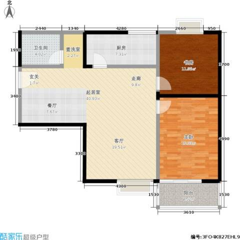 紫薇龙腾新世界2室0厅1卫1厨85.06㎡户型图