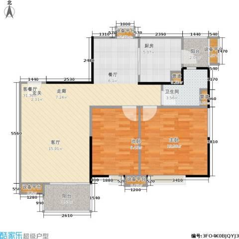 世纪云顶雅苑2室1厅1卫1厨97.00㎡户型图