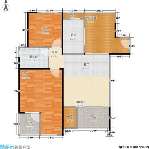 万科金色家园2室1厅1卫1厨91.00㎡户型图
